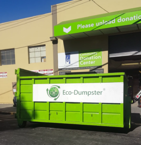 We donate to furniture to local charities. Our ecodumpster bin is parked.
