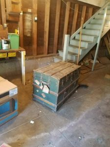 a large steamer chest found hidden and did not sell at the estate sale
