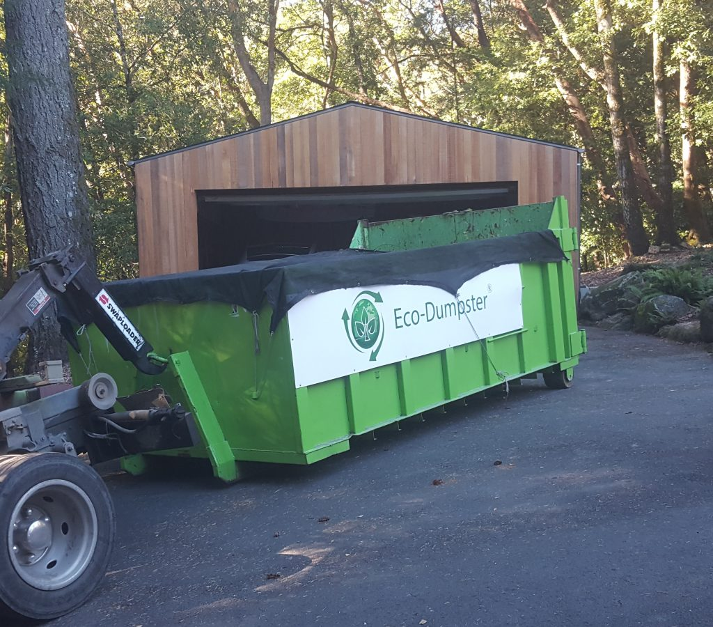 Picking up a 15 yard dumpster, eco-dumpster® type.