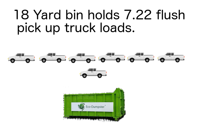 18 yard dumpster holds 7.22 pick up trucks worth of trash