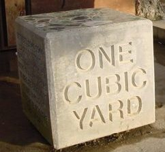 a cubic yard made of concrete, junk removal pricing for a cubic yard of dense material is 164 dollars