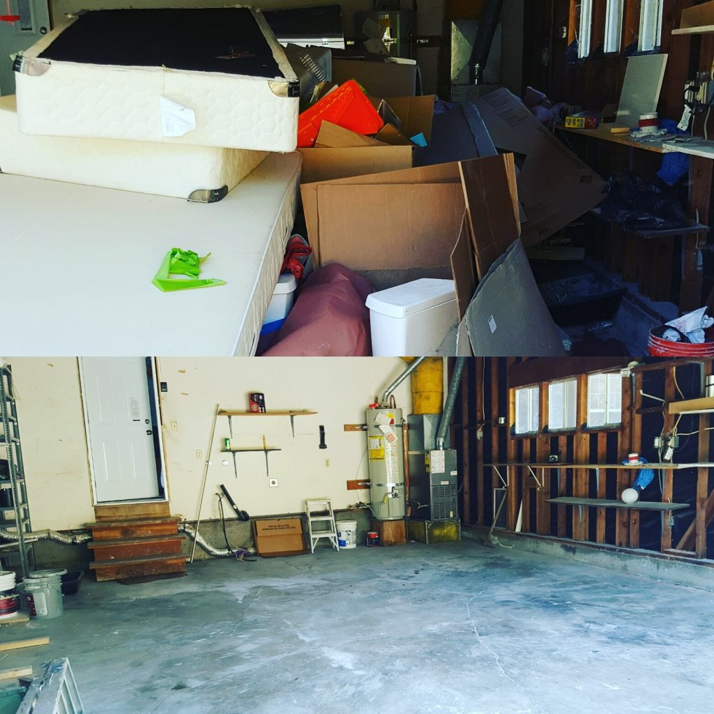 garage full of junk fit in our 18 cubic yard debris box
